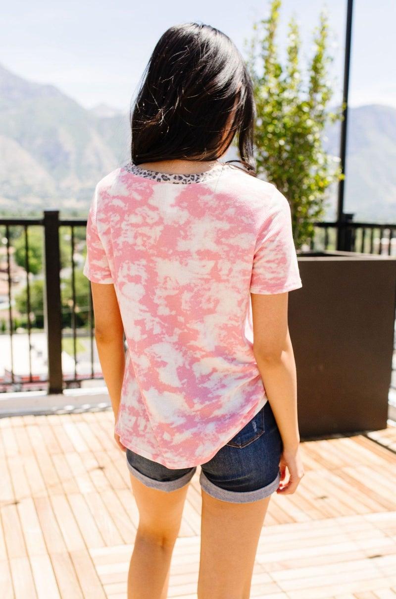 Tessa Tie Dye Top In Pink