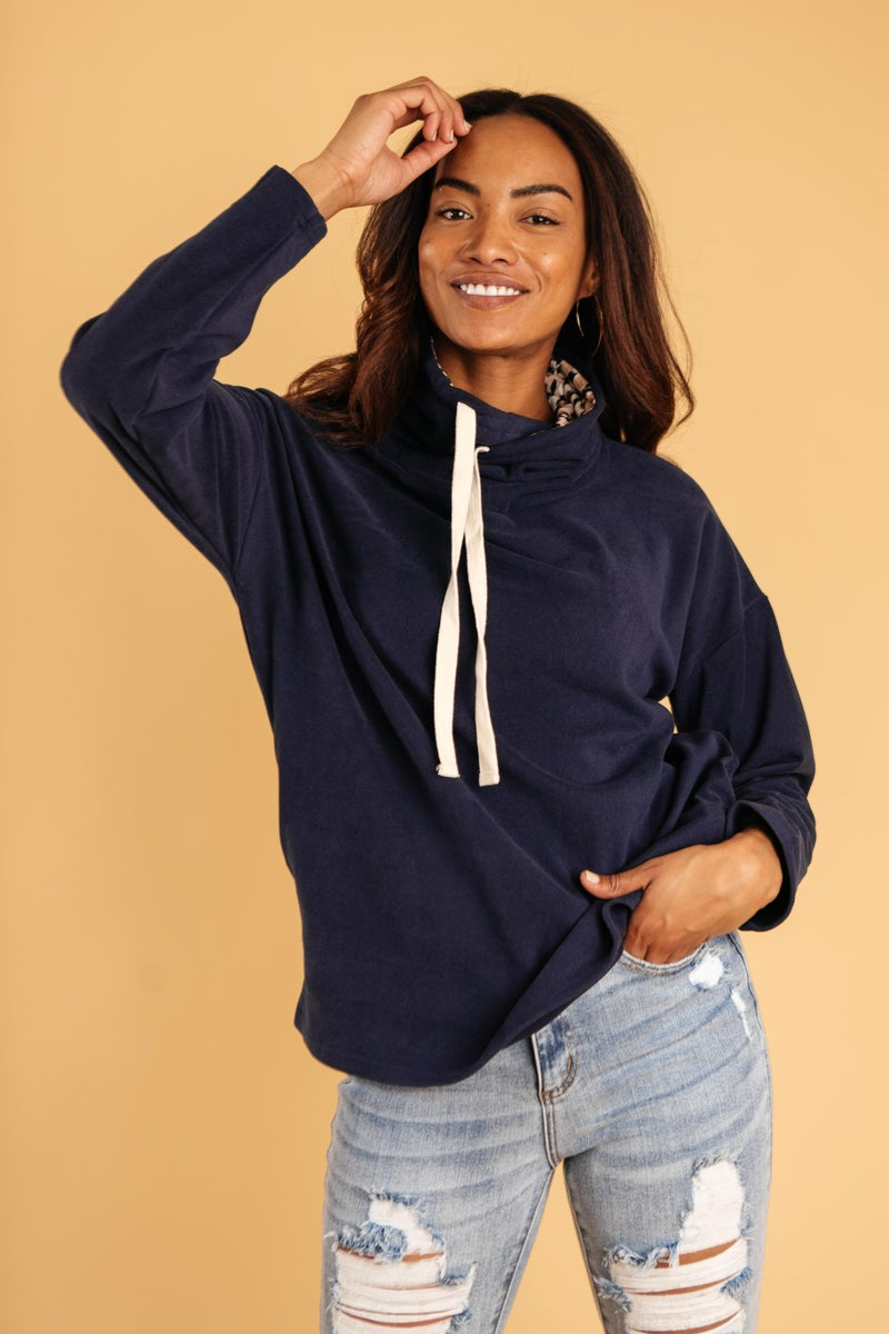 The Mia Leopard and Navy Cowl Neck
