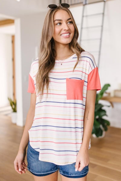 Coral & Stripes Top