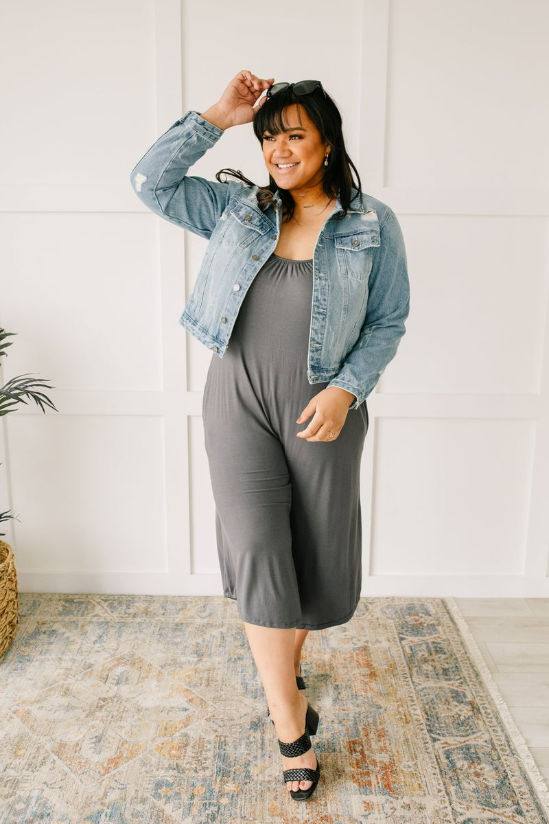 Good Better Best Cropped Tank Jumpsuit in Charcoal