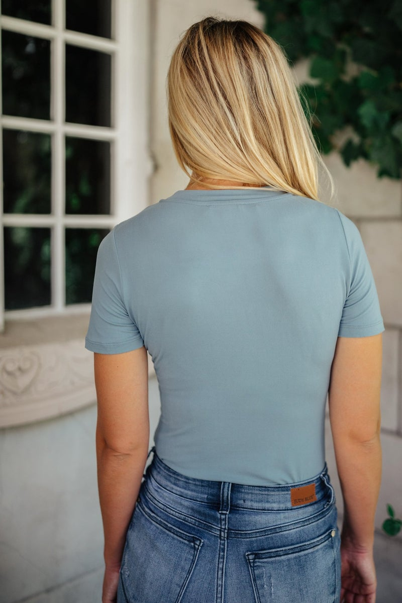 Round Neck Bodysuit In Blue