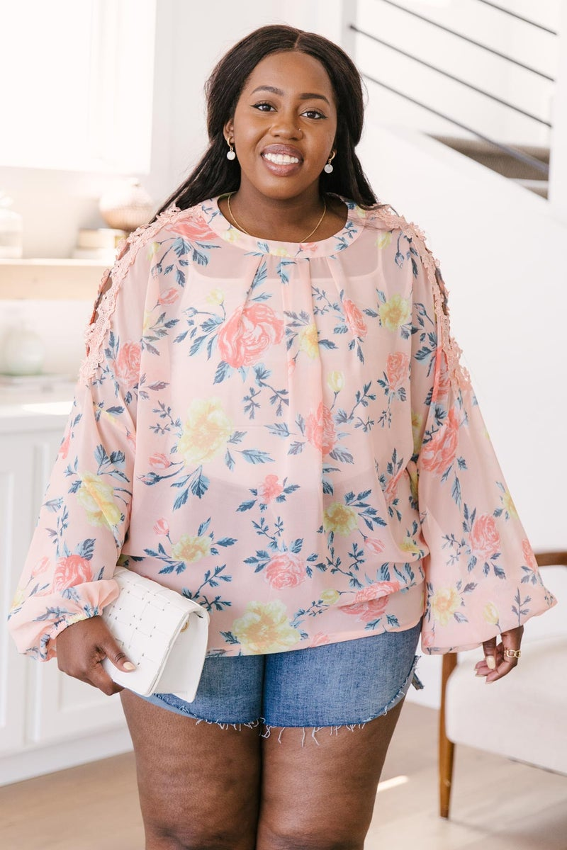 Maisy Floral Blouse in Peach