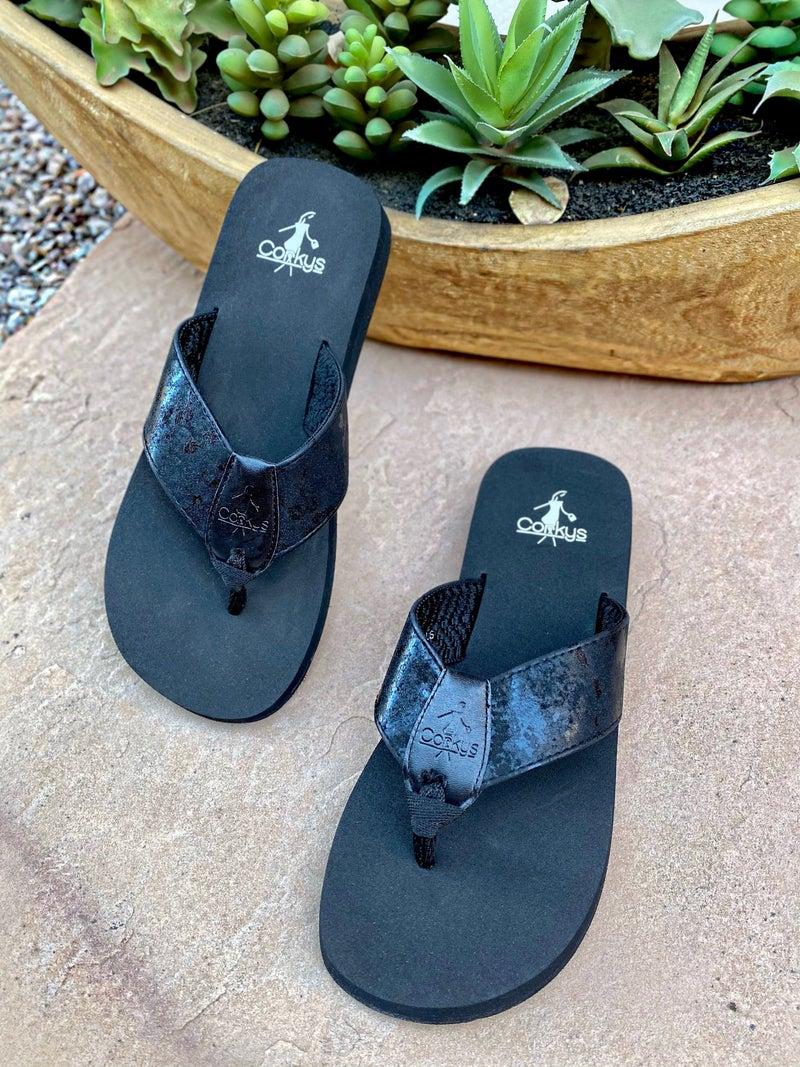 Corkys Black Clover Flip-Flop