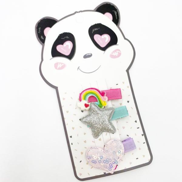 Kids Panda Hair Clip Set