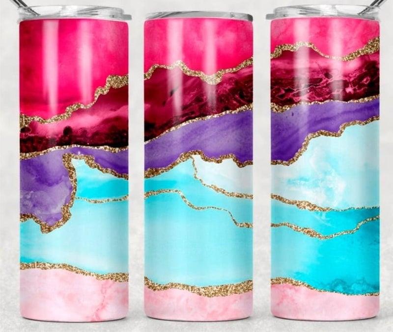 Pink + Purple Marble 20oz Tumbler