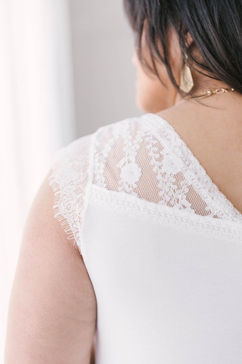 Garden and Lace Top in White