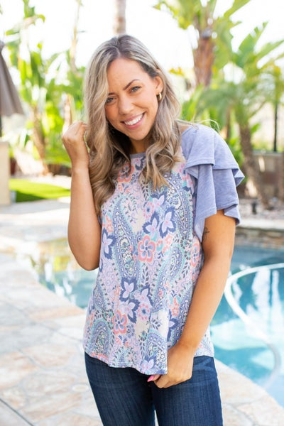 Spring Paisley Bell Sleeve Top