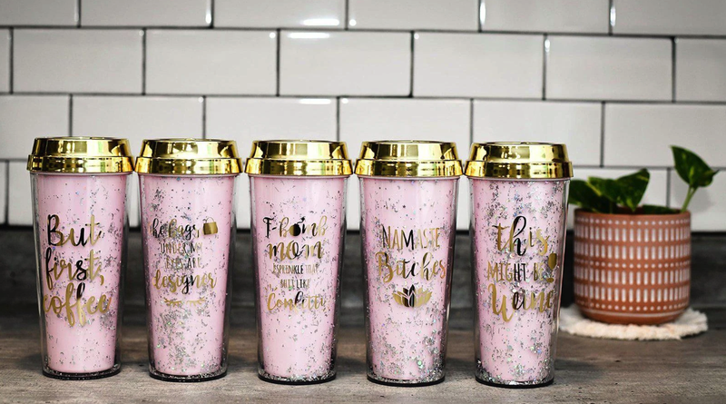 Pink Sparkle Tumblers w/Fun Sayings (Variety)