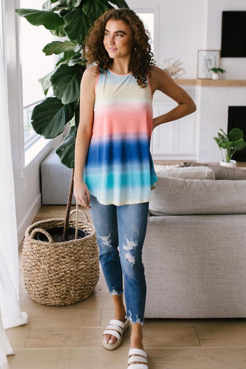 Pastel Gradient Stripes in Blue & Coral