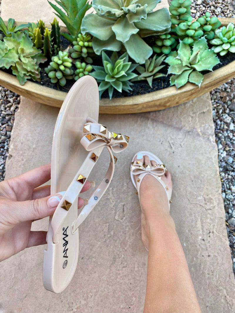 Jasmine Nude Bow Studded Jelly Sandals