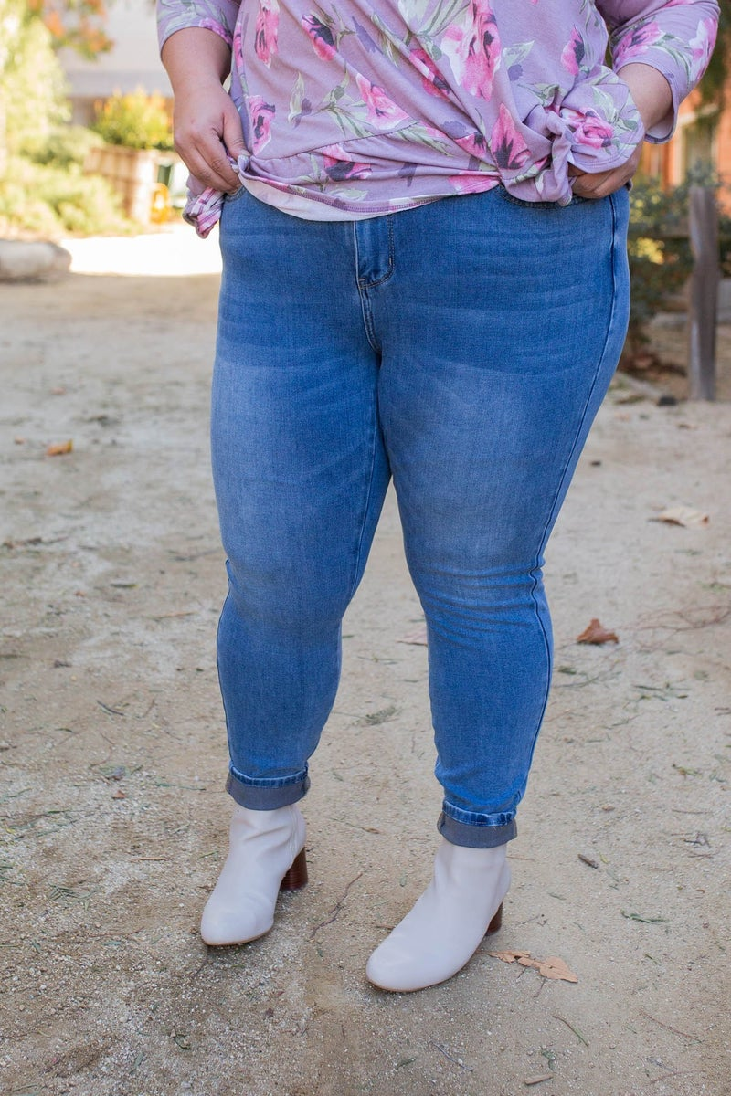 Light Washed Thermal Denim Judy Blue Skinnies