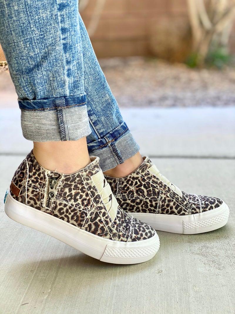 Blowfish Tabby Olive Leopard Wedge Sneaker