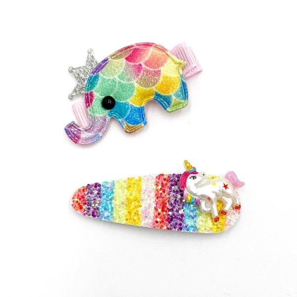Kids Glitter Elephant Hair Clip Set