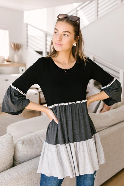 The Fanciful Flowing Top In Black