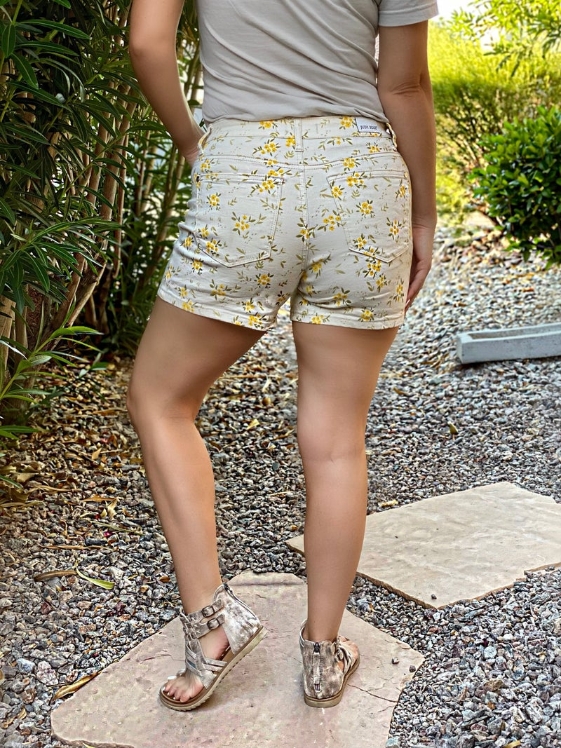 Judy Blue Lillian Yellow Flower Shorts