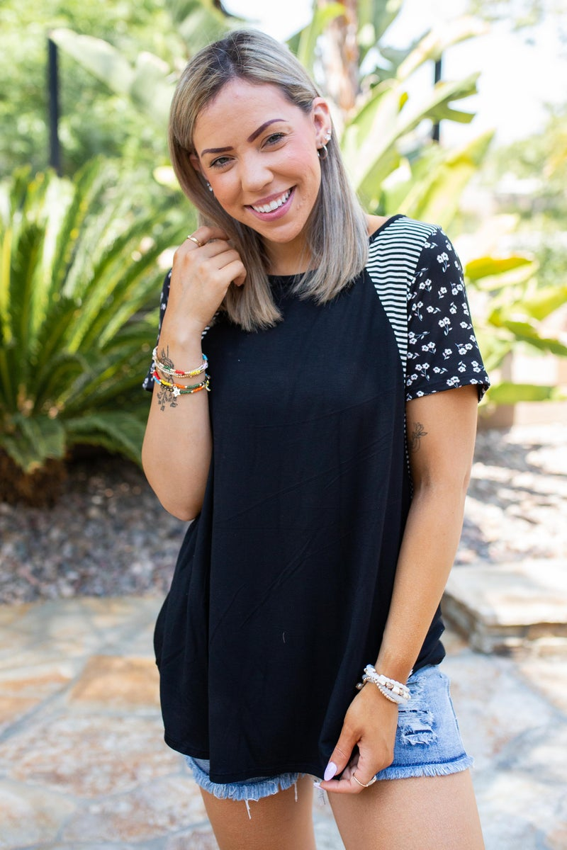 Classy Striped Floral Short Sleeve Top