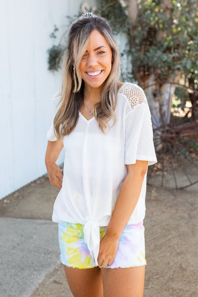 Spirited Front Tie Top in White