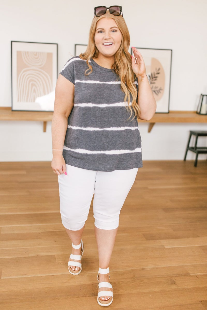 Casual In Stripes Top In Charcoal