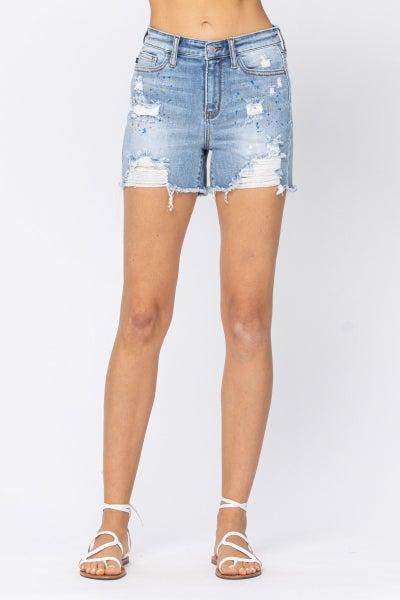 Judy Blue Paint Splatter Destroyed Shorts