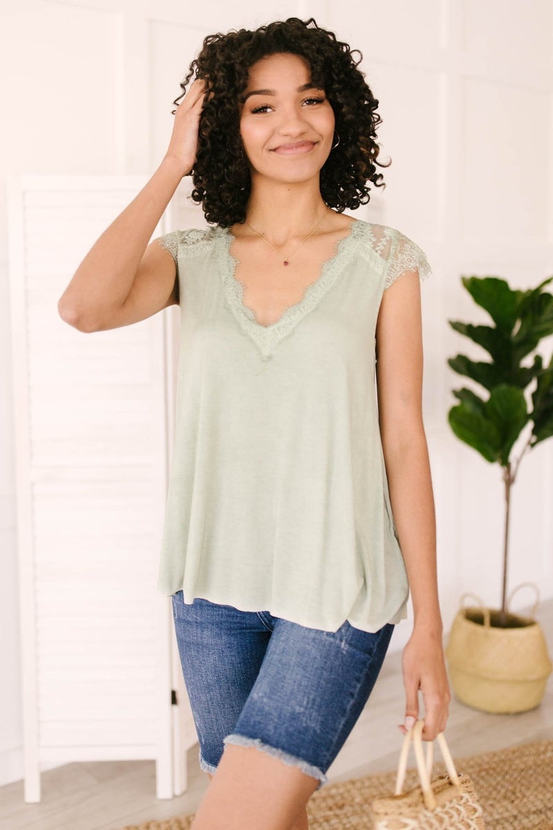 Garden and Lace Top in Sage