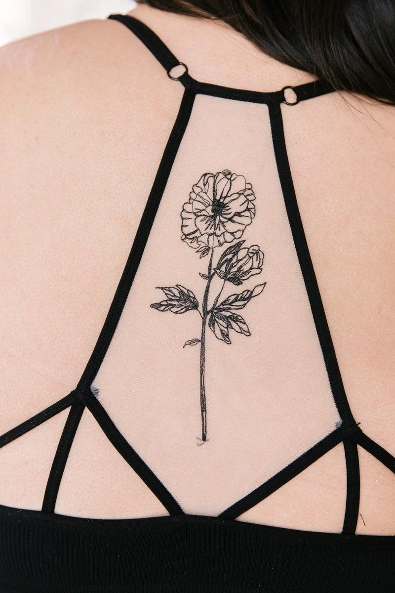 Hint of Intimate Tattoo Mesh Bralette