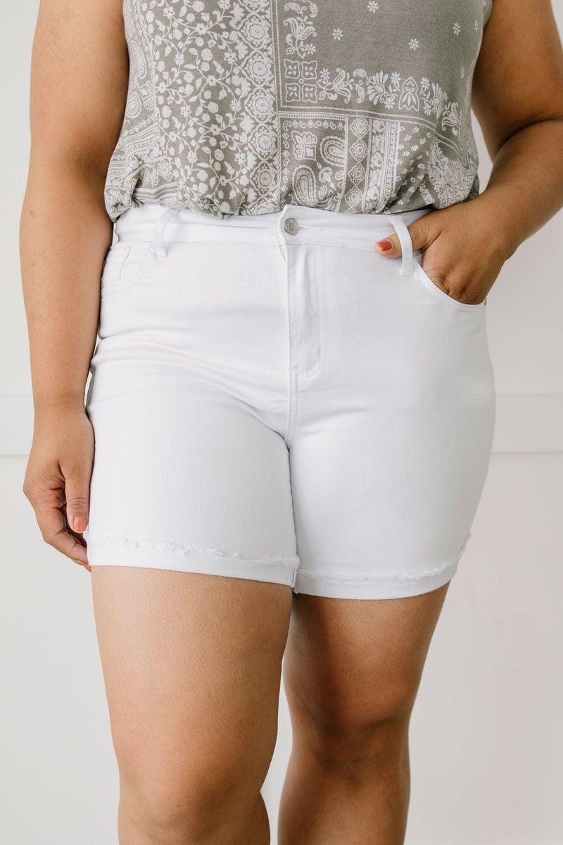 Clean Slate White Jean Shorts