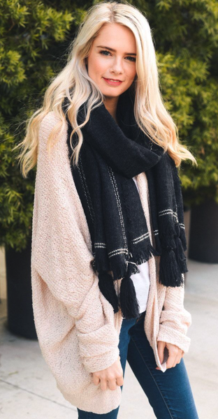 Black Tassel Corner Frayed Trim Blanket Scarf