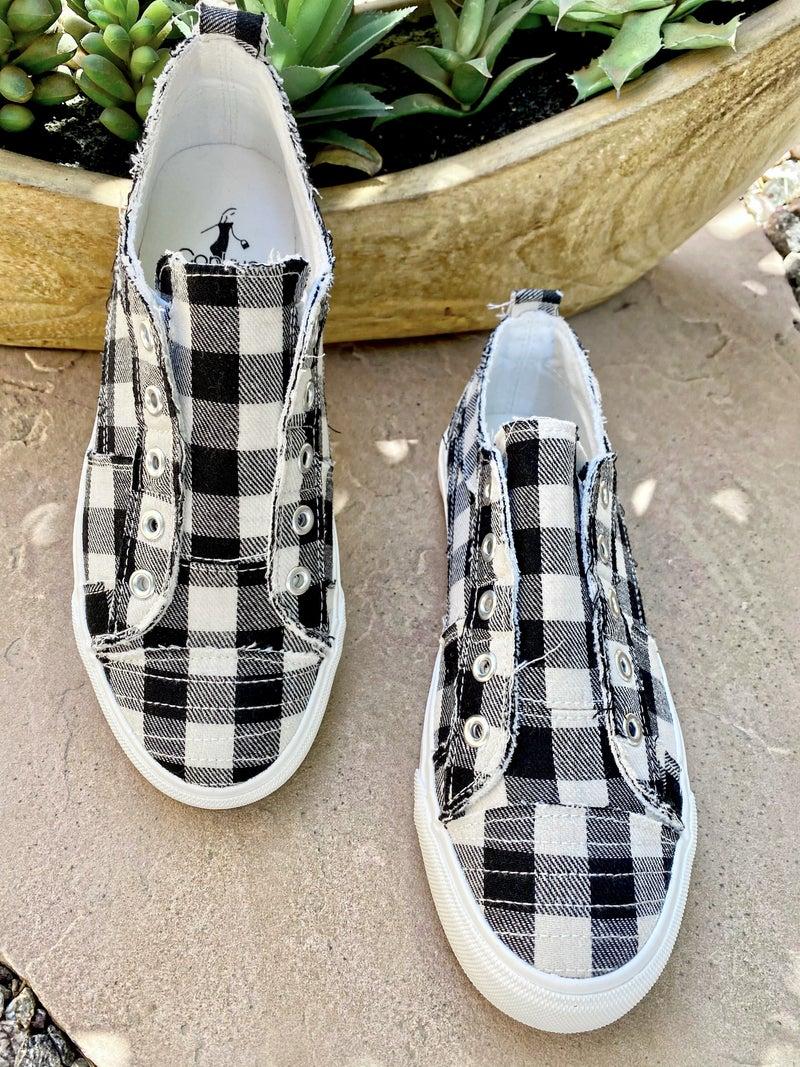 Corkys Teagan Black + White Plaid Sneaker