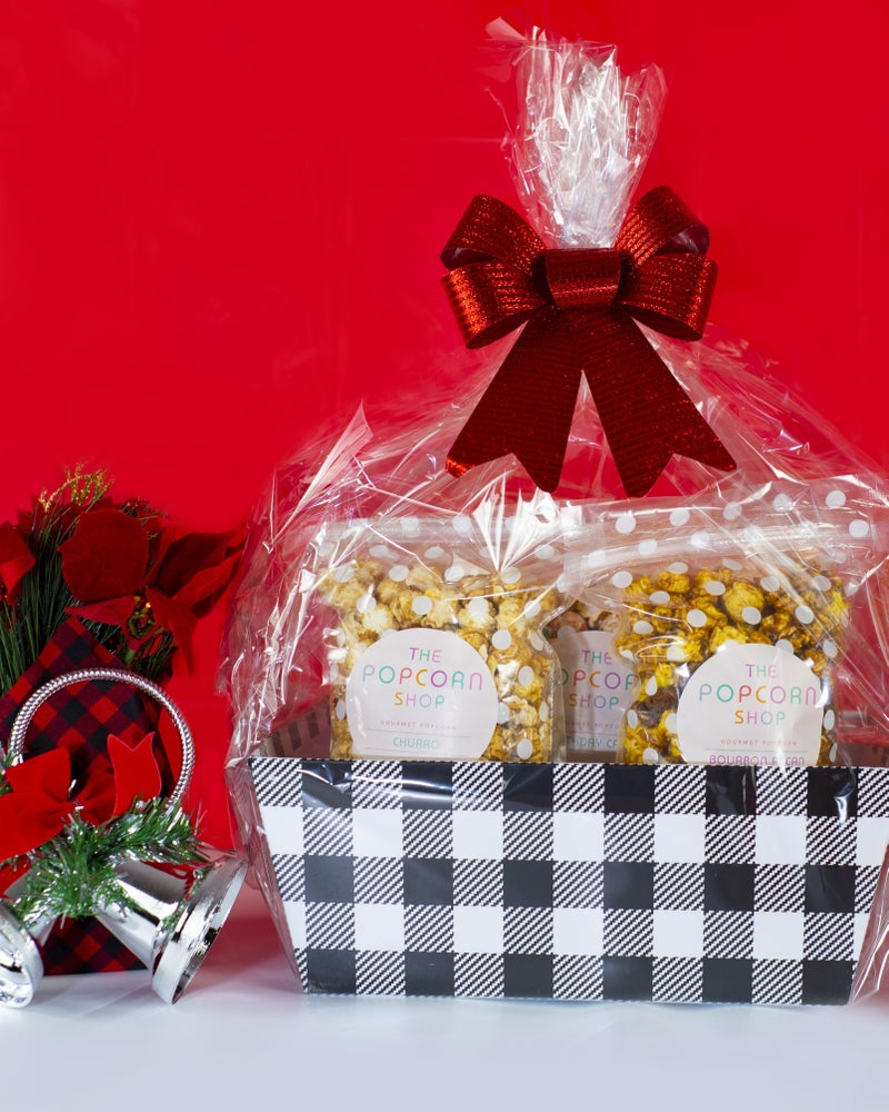 White and Black Plaid Gift Basket