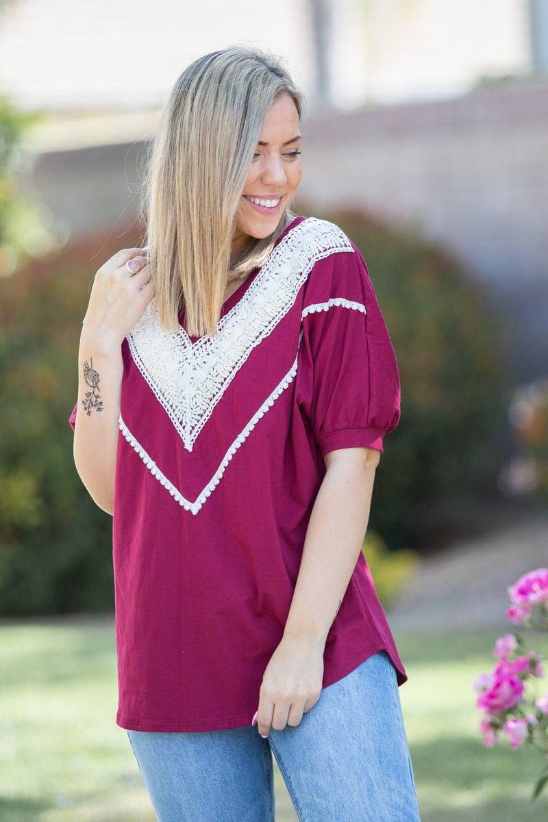 (Wednesday 5-26-21) Pinot Noir Lace Trim Top