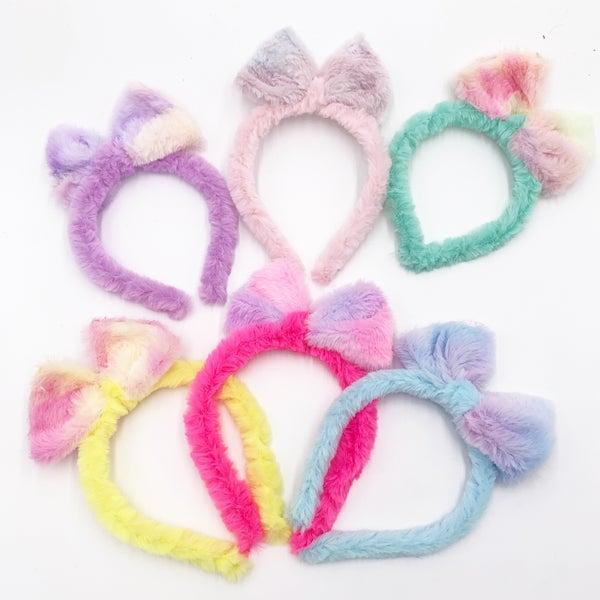 Fuzzy Tie Dye Bow Headband