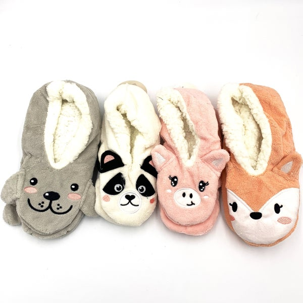 Cute Sherpa Animal Slippers