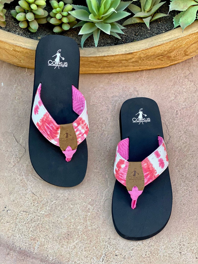 Corkys Everly Pink Tie Dye Flip-Flop