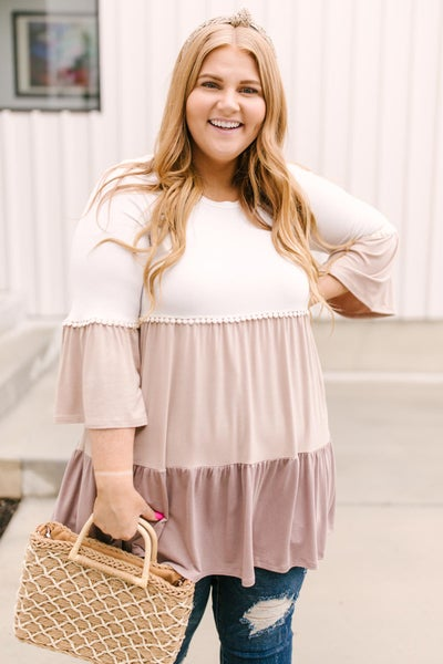 The Fanciful Flowing Top In Mocha