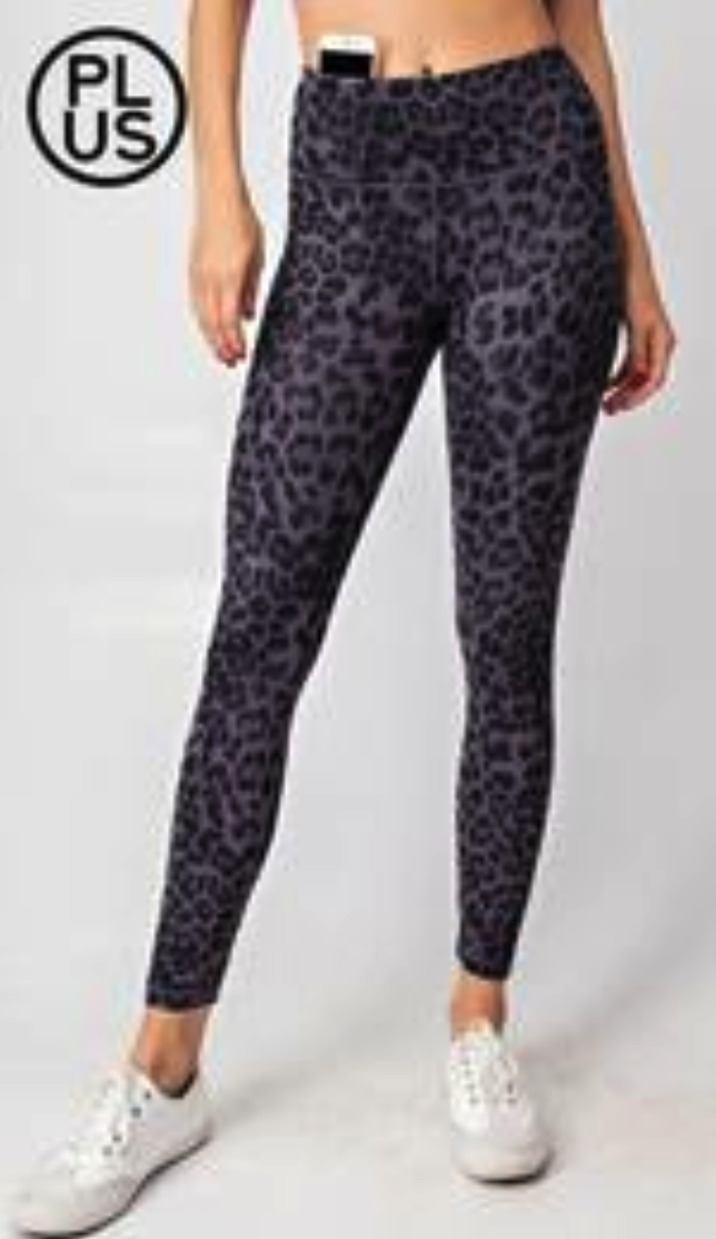 Rae Mode Grey Leopard Leggings