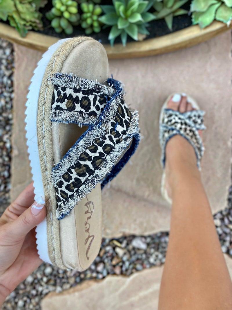 """Very G Cream Leopard """"Laney"""" Sandals"""