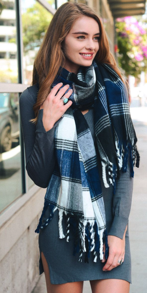 Navy Plaid Oversized Flannel Tassel Scarf
