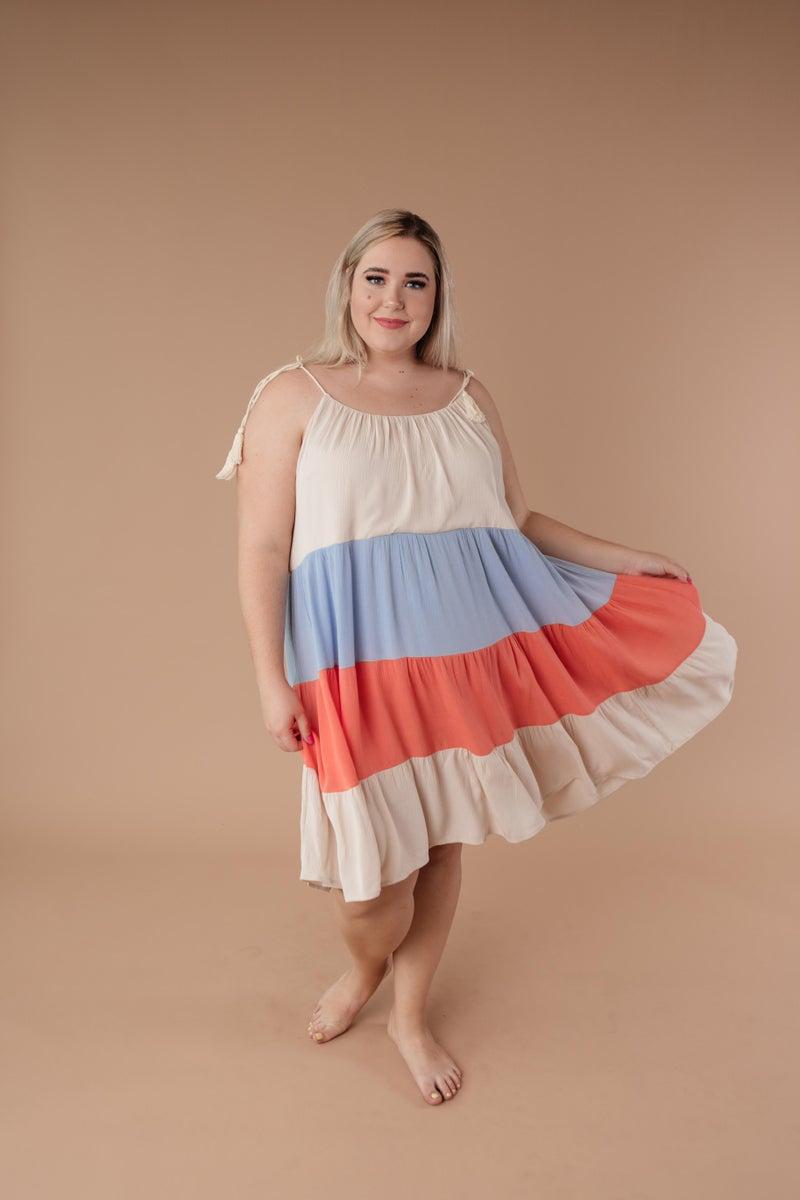 Color Block Ruffles Midi Dress In Coral