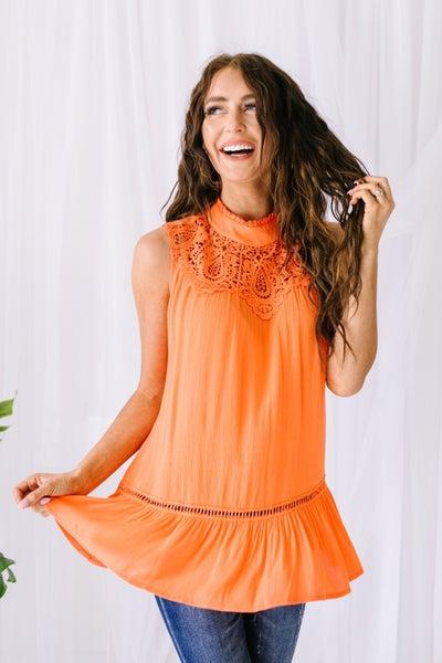 Victoria Lace Mock Neck Top In Orange