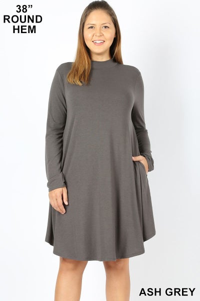 Mock Neck Long Sleeve Dress with Pockets