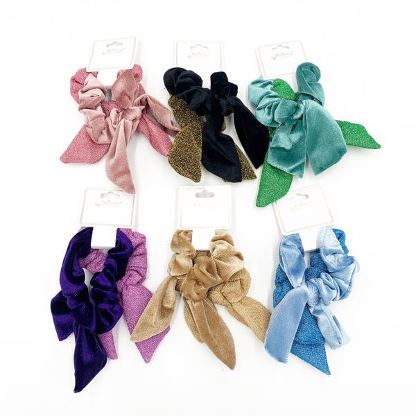 Shimmer Bow Scrunchie 2-Pack