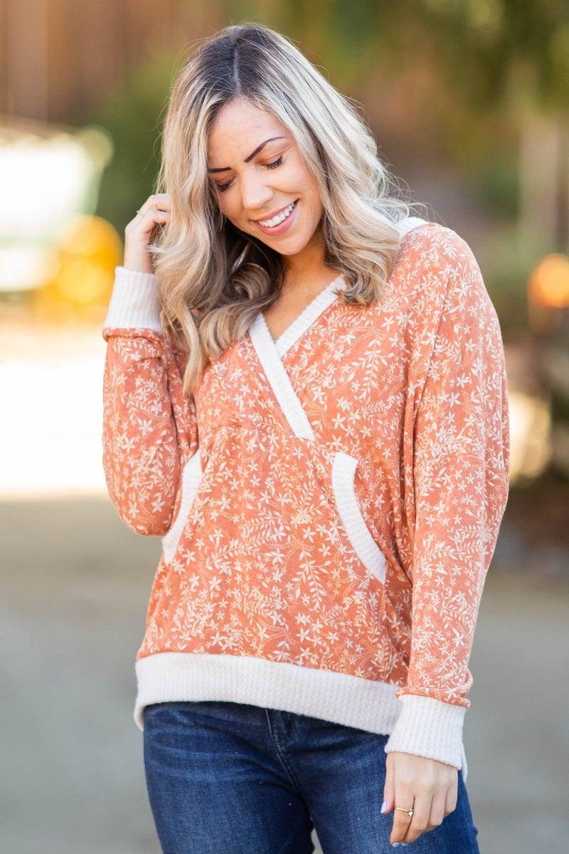Rustic Floral Knit Hoodie