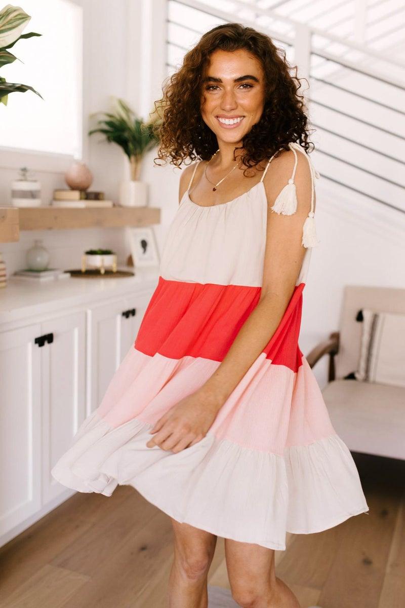 Color Block Ruffles Midi Dress In Pink