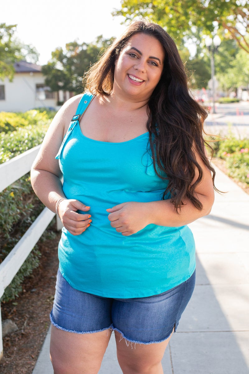 Minty Buckle Strap Top