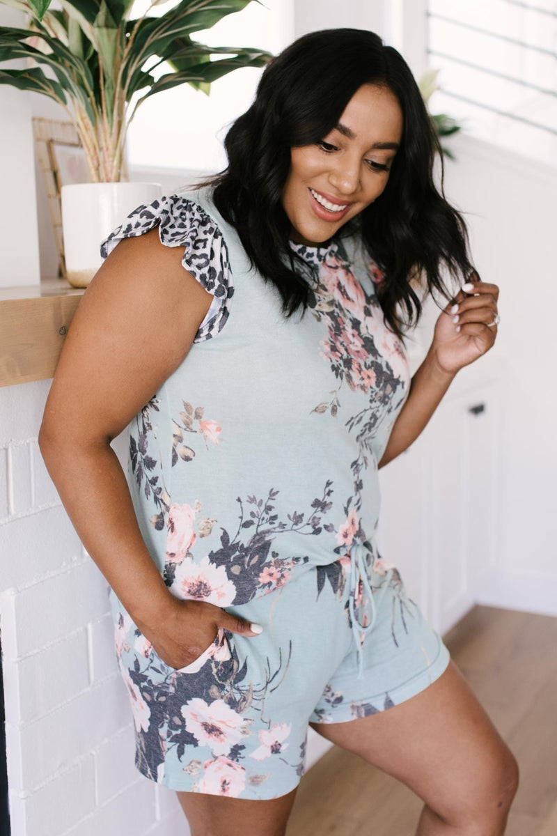 Floral Wild Side Lounge Top In Sage