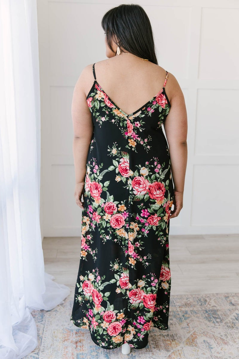 Stuck With Me Floral Maxi in Black