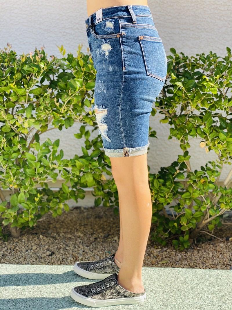 Fiona - Judy Blue Destroyed Bermuda Shorts