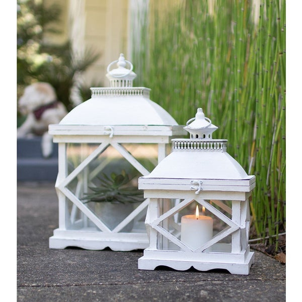 Rustic White Wooden Lanterns  (Set of 2)