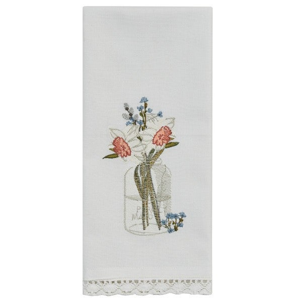 Mason Jar White Daffodils Embroidered Dishtowel
