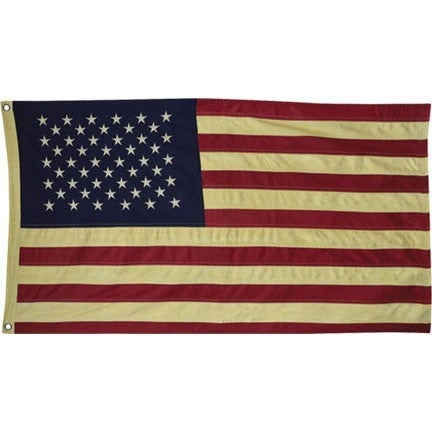 """Aged Tea Stained Cotton Flag 58"""""""